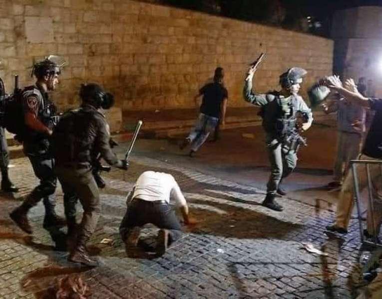 قوات الاحتلال تعتدي على المعتصمين في حي الشيخ جراح بالقدس